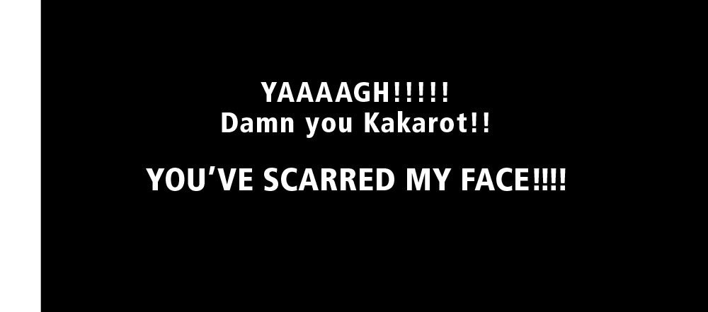 "YAAAAGH!!!!! Damn you Kakarot!! YOU""VE SCARRED My FACE!!!!"